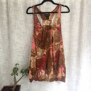 Lane Bryant Coral and Shell Print Racerback Tank